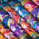 colorful Chinese silk cloths closeup